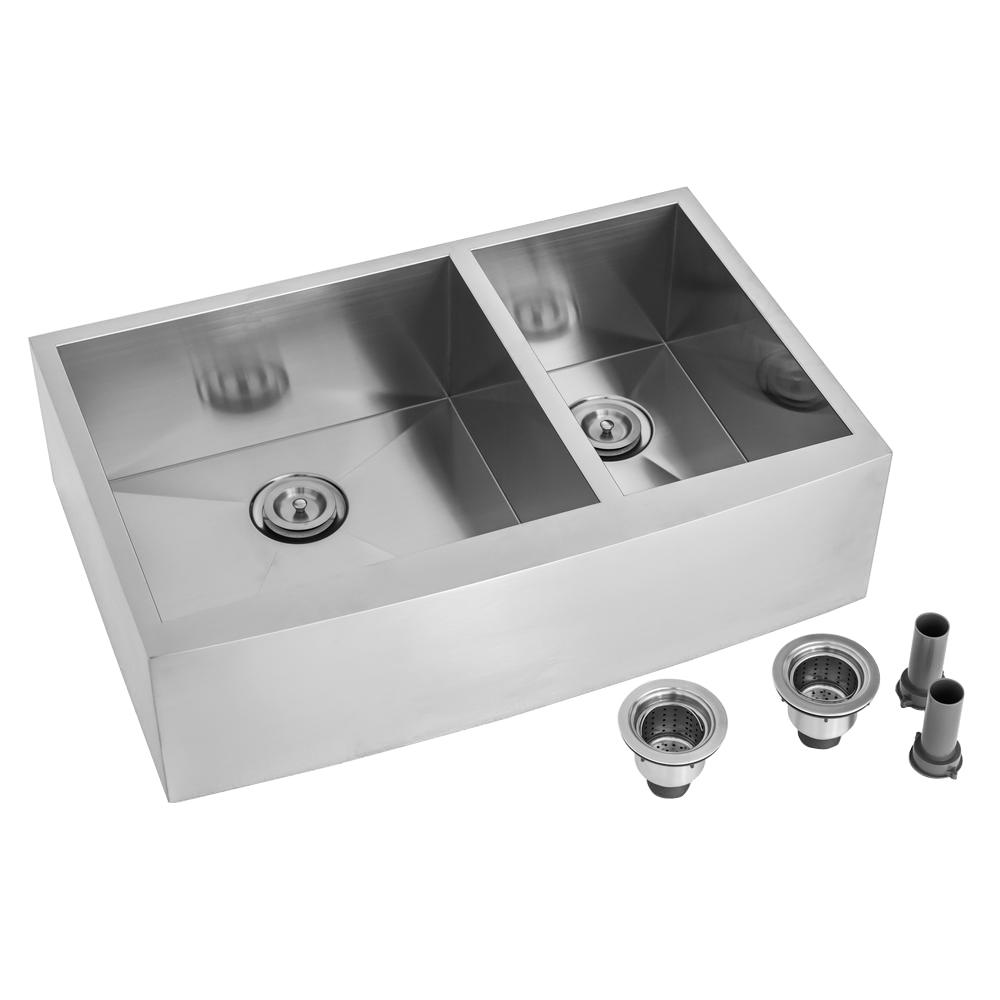 Kokols Farmhouse Apron Front Stainless Steel 33 In. Double Bowl Kitchen Sink