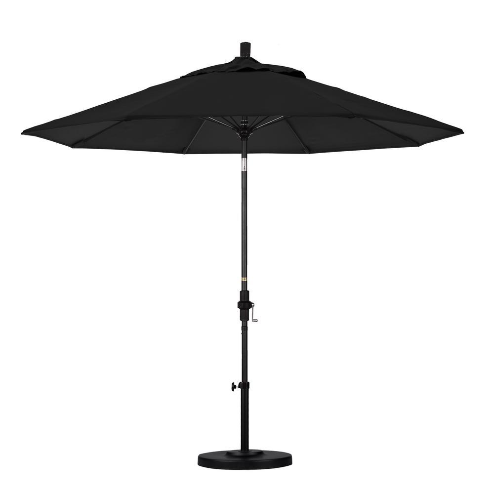 9 ft. Matted Black Aluminum Market Patio Umbrella with Fiberglass Ribs Collar Tilt Crank Lift in Black Sunbrella