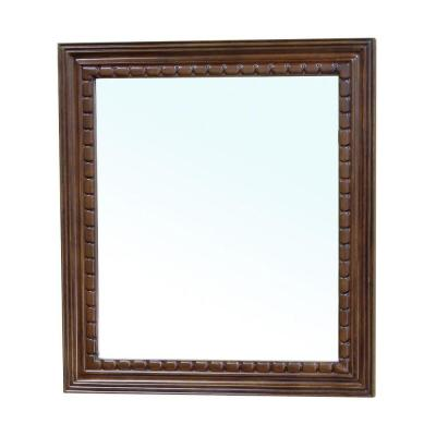 Dalton 32 in. L x 36 in. W Solid Wood Frame Wall Mirror in Medium Walnut