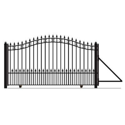 St. Petersburg Style 16 ft. x 6 ft. Black Steel Single Slide Driveway Fence Gate