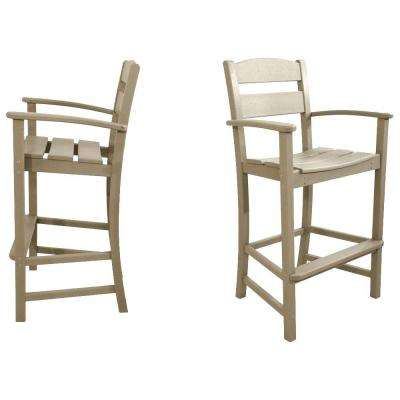 Classics Sand 2-Piece Plastic Outdoor Patio Bar Arm Chair Set