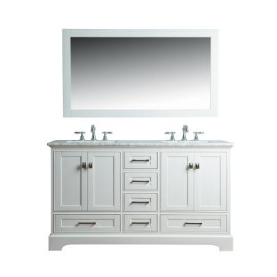 Newport 60 in. W x 22 in. D Vanity in White with Marble Vanity Top in Carrara White and Mirror