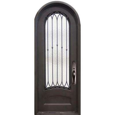 46 in. x 97.5 in. Concord Classic 3/4 Lite Painted Oil Rubbed Bronze Wrought Iron Prehung Front Door