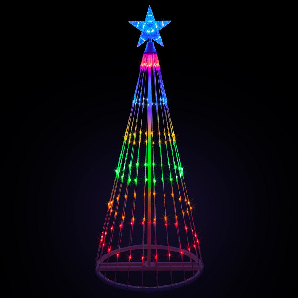 Kringle Traditions 144 in. Christmas Multi-Color LED Animated Lightshow Cone Tree with 442 Lights and Star Topper
