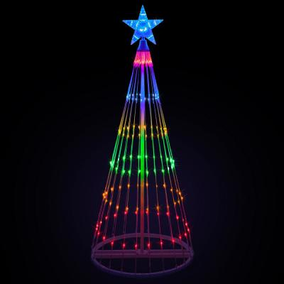 144 in. Christmas Multi-Color LED Animated Lightshow Cone Tree with 442 Lights and Star Topper