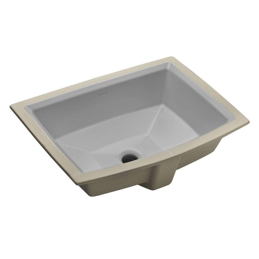 KOHLER Archer Vitreous China Undermount Bathroom Sink with Overflow Drain in Ice Grays with Overflow Drain