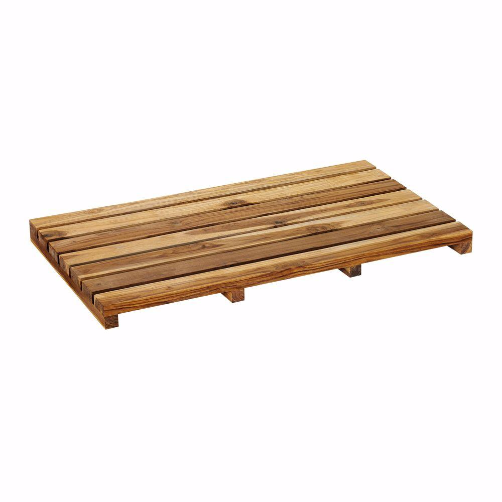 Home Decorators Collection Reclaimed Teak 28 in. W x 16 in. D Bath Mat with Natural Finish