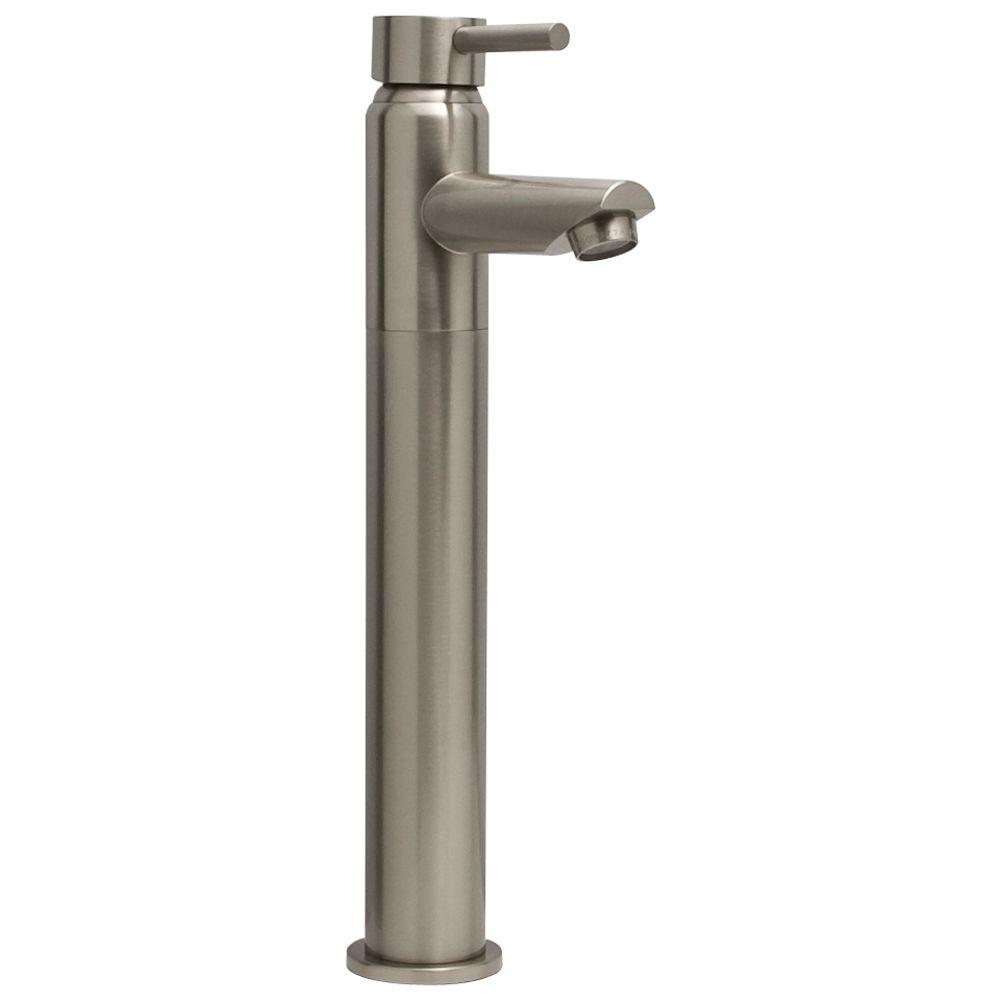 Barclay Products Bergom Single Hole 1-Handle Mid-Arc Bathroom Vessel Faucet in Brushed Nickel-DISCONTINUED