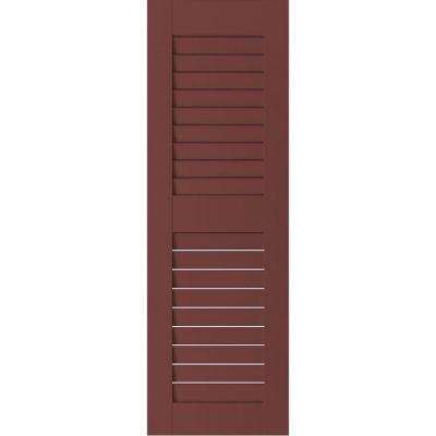 12 in. x 26 in. Exterior Real Wood Pine Louvered Shutters Pair Cottage Red