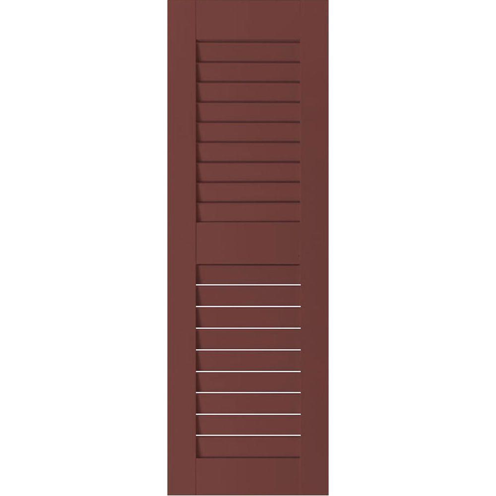 Ekena Millwork 15 in. x 34 in. Exterior Real Wood Sapele Mahogany Louvered Shutters Pair Cottage Red