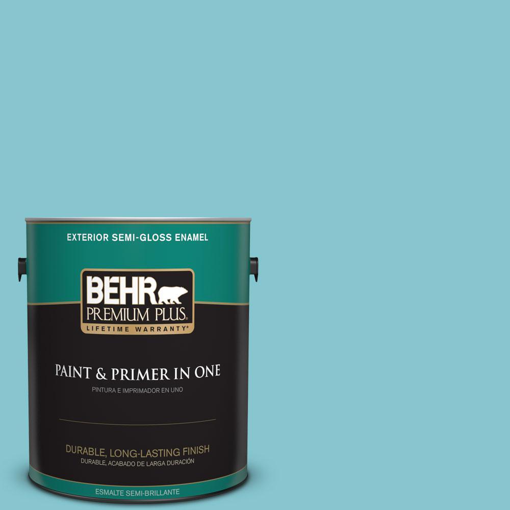 BEHR Premium Plus 1-gal. #520D-4 Shallow Sea Semi-Gloss Enamel Exterior Paint