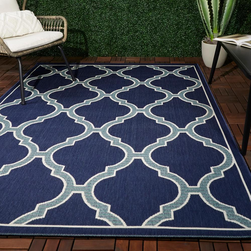 Amalie Dark Blue 8 ft. x 10 ft. Indoor/Outdoor Area Rug