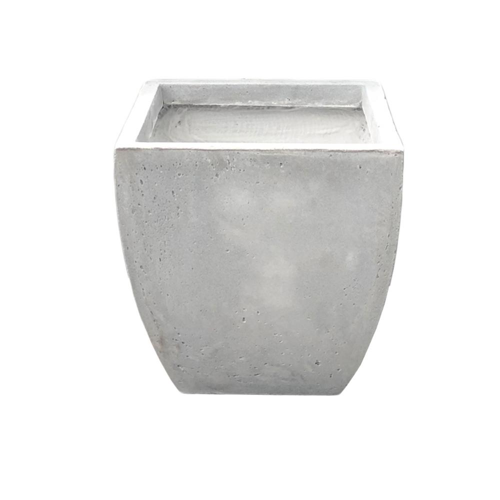 KANTE 17.7 in. Tall Natural Lightweight Concrete Modern Flared Square Planter
