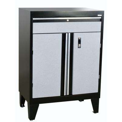 43 in. H x 30 in. W x 18 in. D Modular Steel Base Cabinet with Drawer Full Pull in Black/Multi-Granite