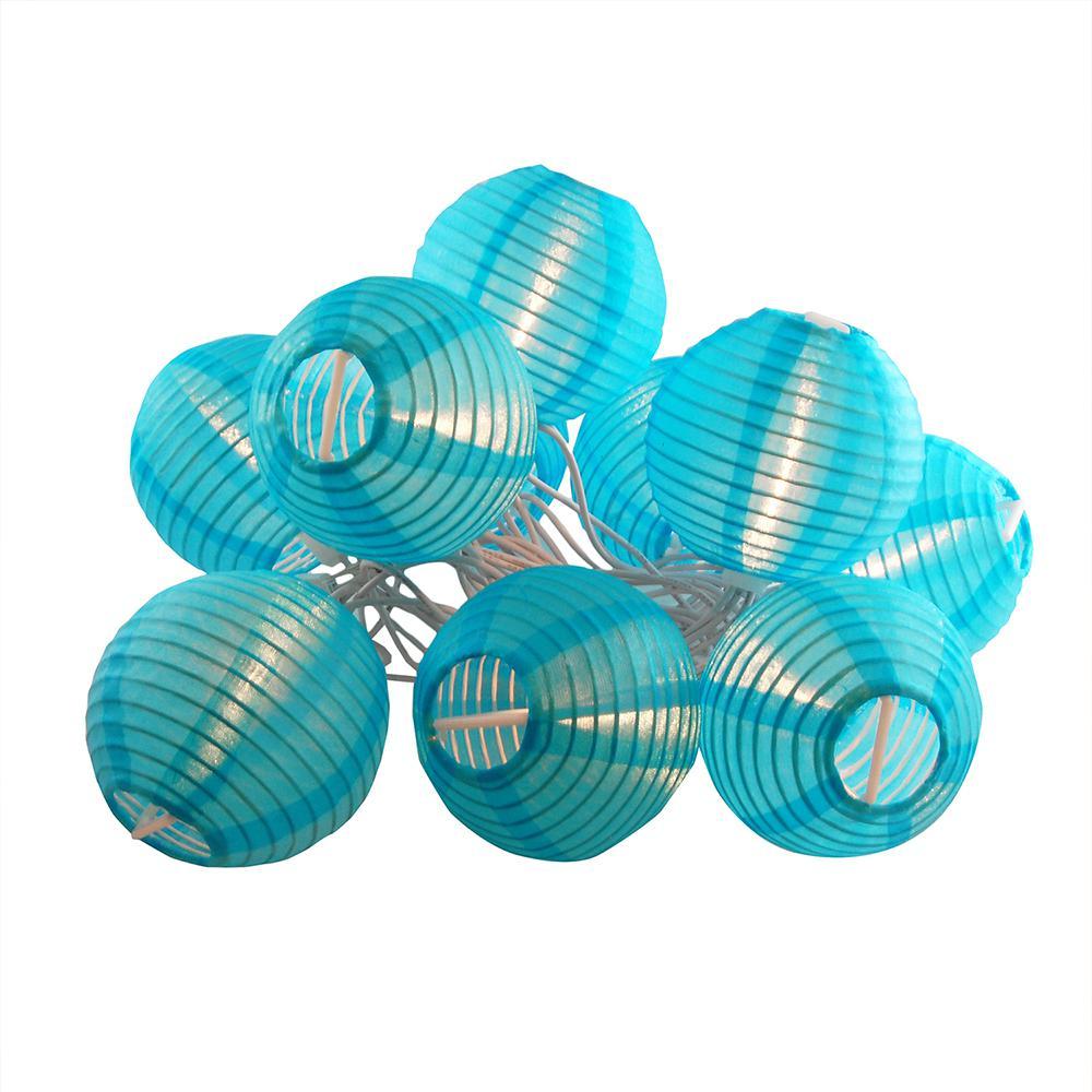 Nylon Lantern String Lights in Turquoise