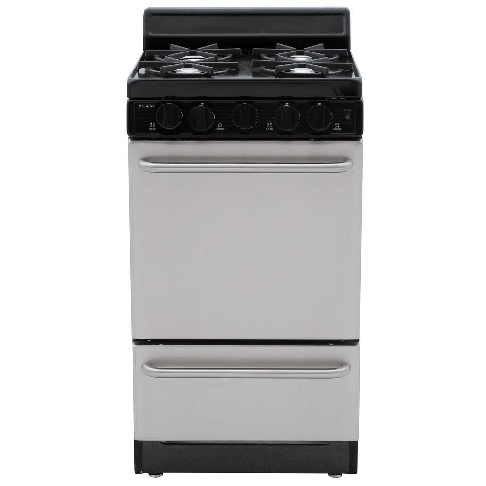 Premier 20 in. 2.42 cu. ft. Freestanding Gas Range in Stainless Steel