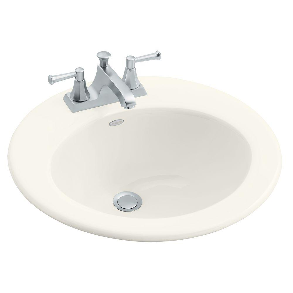 Kohler radiant drop in cast iron bathroom sink in biscuit with overflow drain k 2917 1 96 the Kohler cast iron bathroom sink