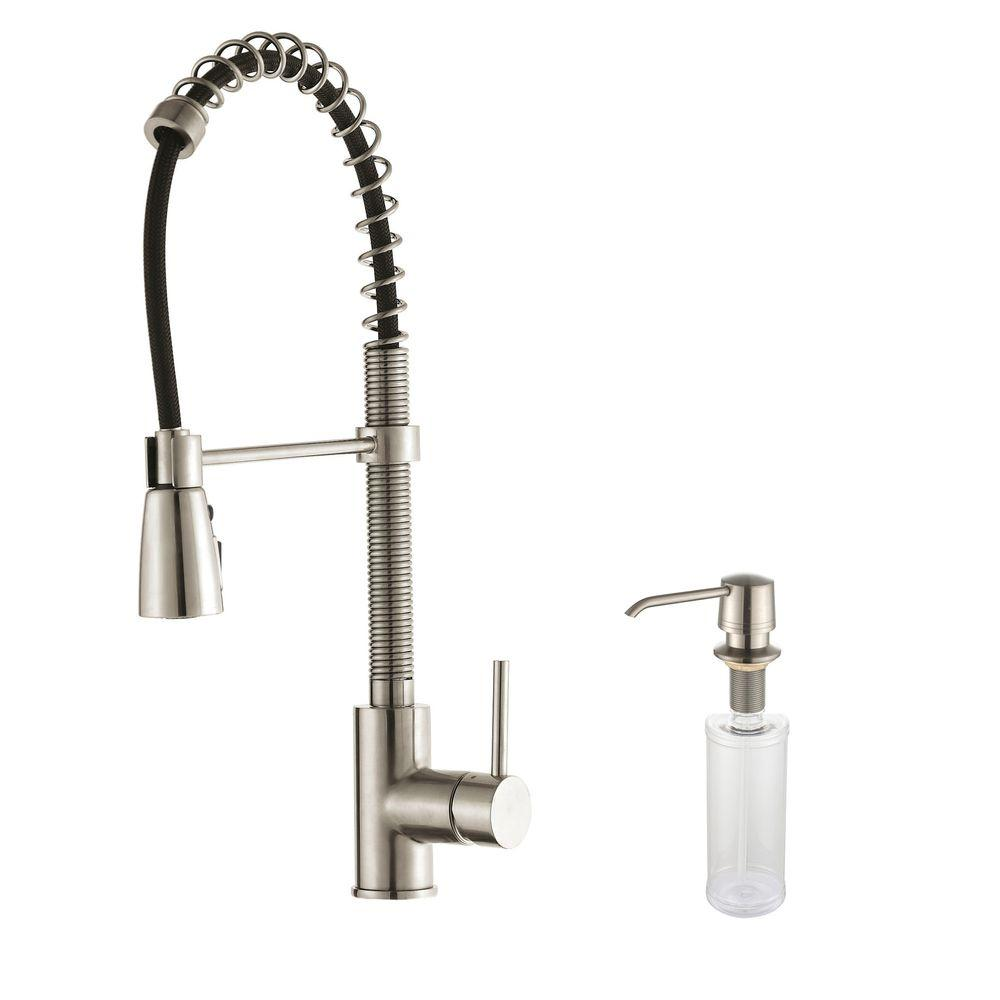 Commercial-Style Single-Handle Pull-Down Sprayer Kitchen Faucet with Soap