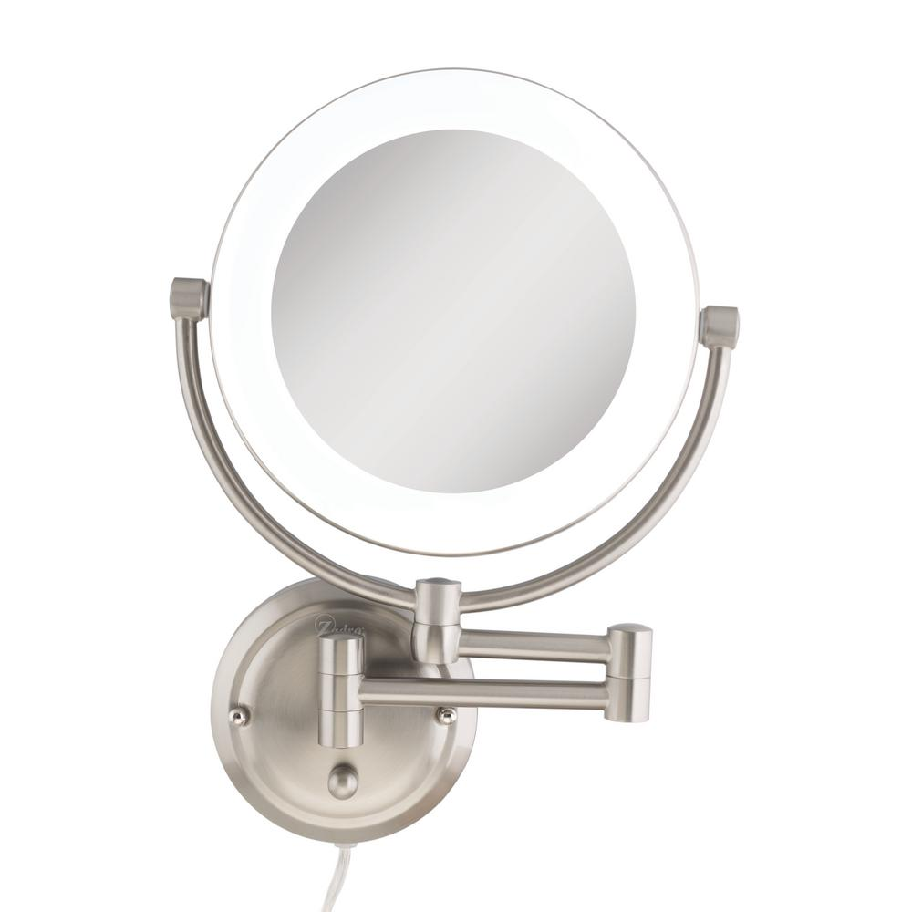 Zadro 12 in. x 17.13 in. Dual-Sided Surround Lighted Wall Mount Makeup Mirror in Satin Nickel