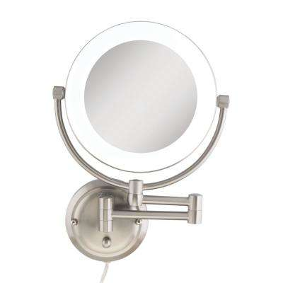 12 in. x 17.13 in. Dual-Sided Surround Lighted Wall Mount Makeup Mirror in Satin Nickel