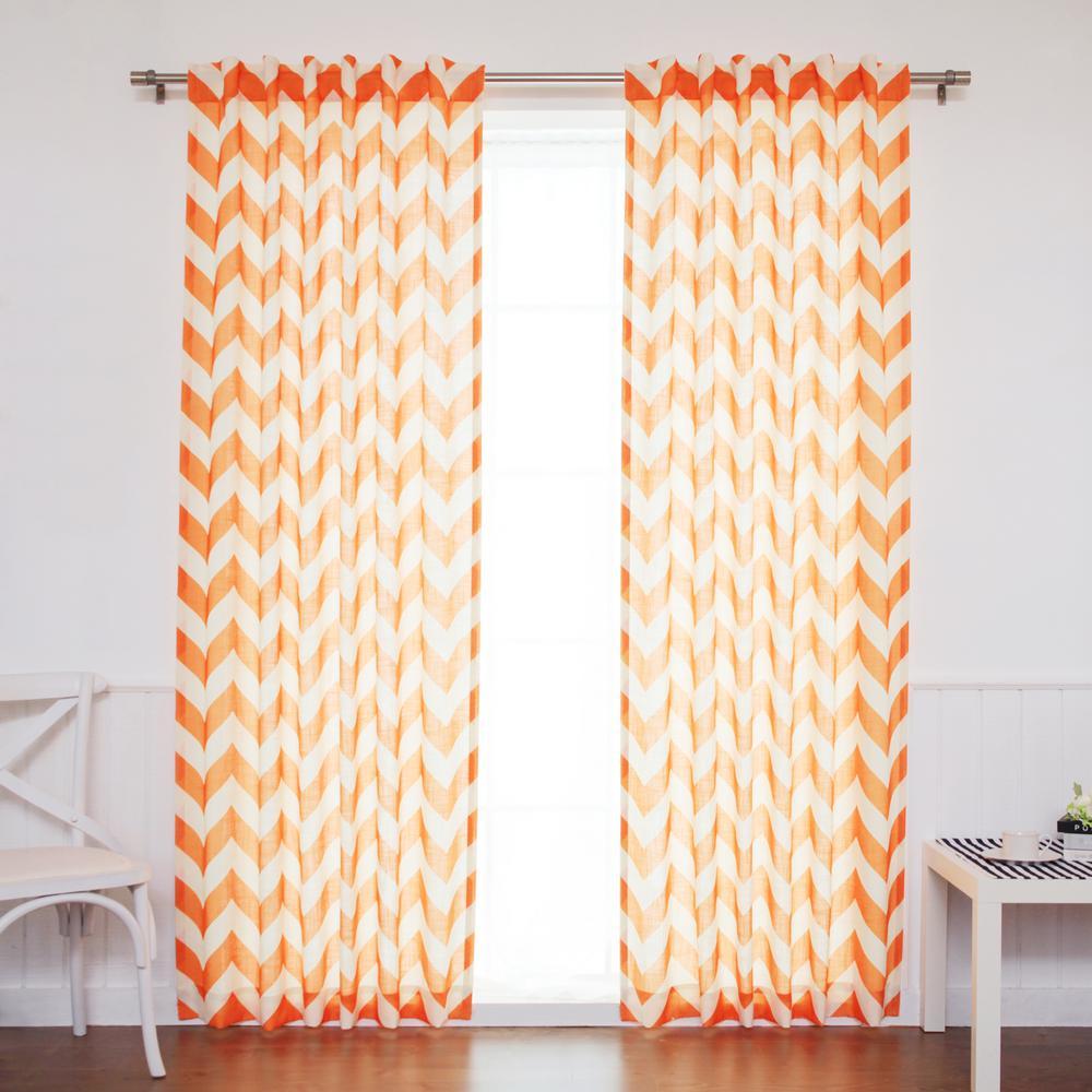 96 in. L Orange Faux Linen Chevron Curtain (2-Pack)