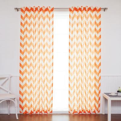 84 in. L Orange Faux Linen Chevron Curtain (2-Pack)