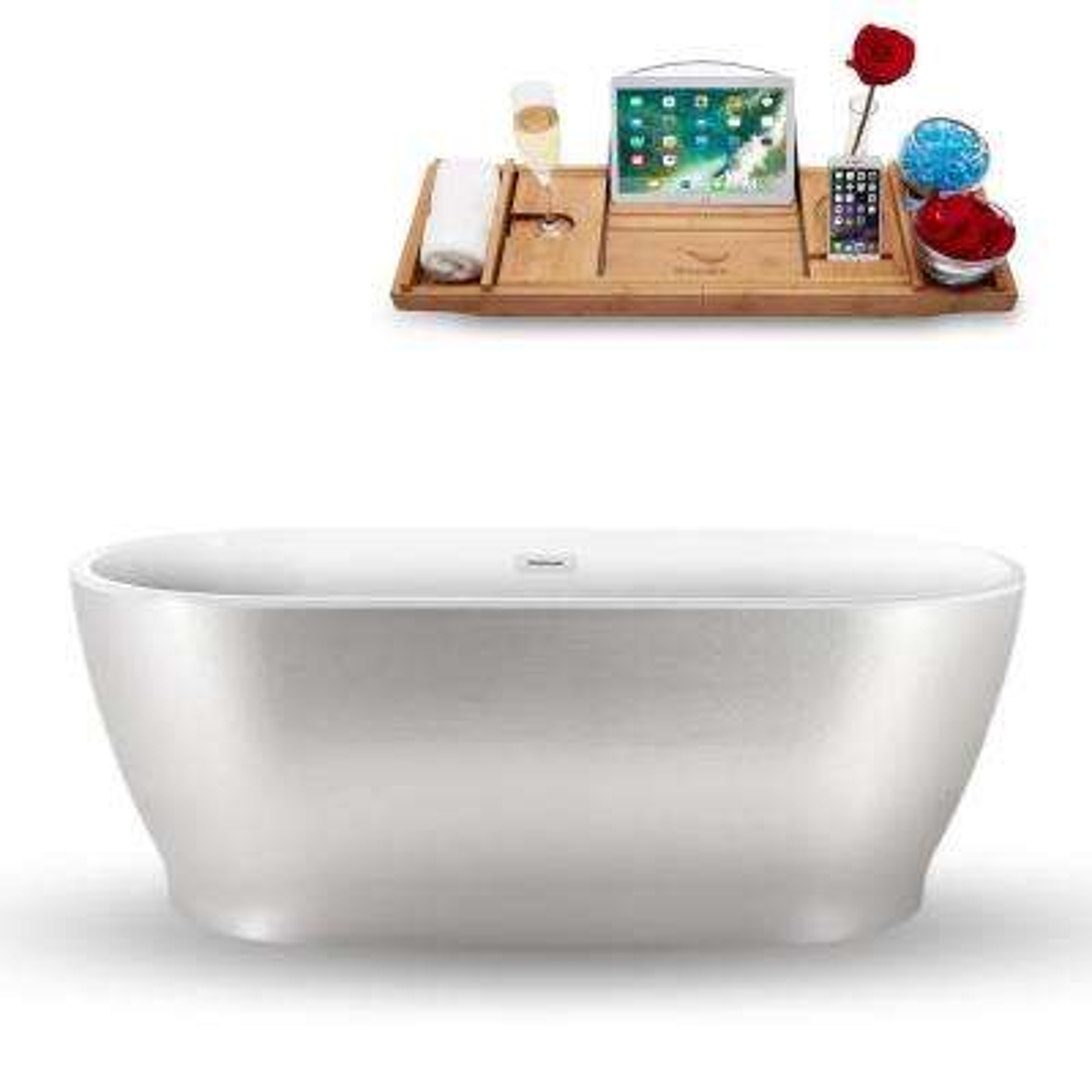 63 in. Acrylic, Fiberglass Flatbottom Non-Whirlpool Bathtub in Pearl White
