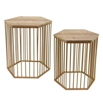 22.5 in. Gold Wood and Metal Table (Set of 2)