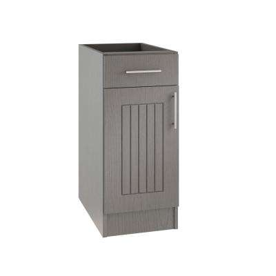 Assembled 12x34.5x24 in. Naples Open Back Outdoor Kitchen Base Cabinet with 1 Door and 1 Drawer Left in Rustic Gray