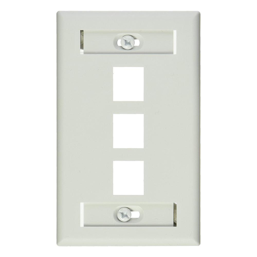 1-Gang Quickport Standard Size 3-Port Wallplate with ID Windows, White