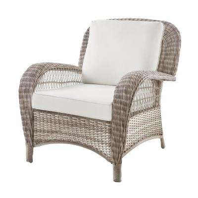 Beacon Park Stationary Gray Wicker Outdoor Lounge Chair with Cushion Included, Choose Your Own Color