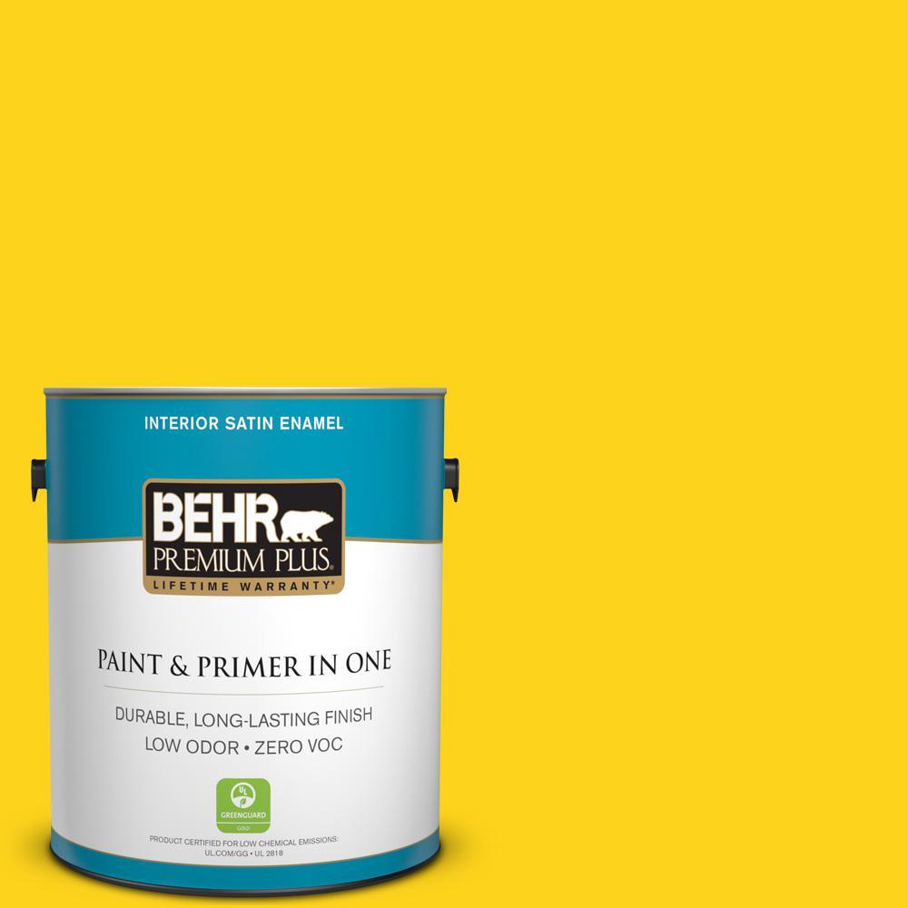 BEHR Premium Plus 1-gal. #S-G-390 Lemon Zest Zero VOC Satin Enamel Interior Paint