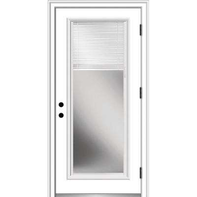 30 in. x 80 in. Internal Blinds Left-Hand Outswing Full Lite Clear Primed Steel Prehung Front Door with Brickmould