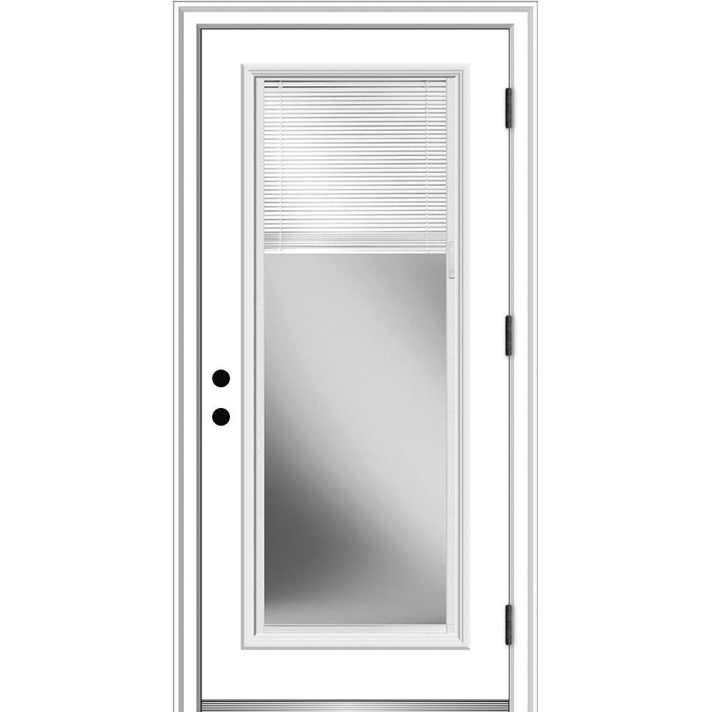 MMI Door 32 in. x 80 in. Internal Blinds Left-Hand Outswing Full Lite Clear Low-E Primed Steel Prehung Front Door with Brickmould