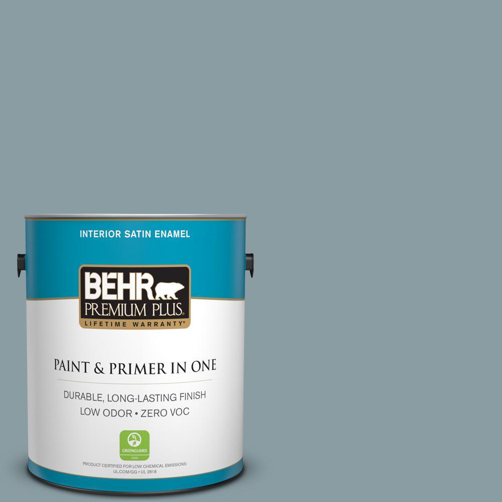 BEHR Premium Plus 1-gal. #ECC-65-3 Teal Wave Zero VOC Satin Enamel Interior Paint