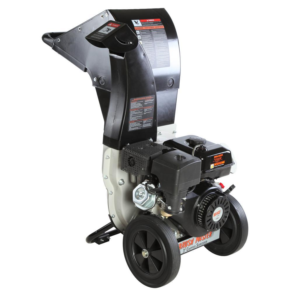 Brush Master 3 in. 11 HP 270cc Gas Powered Self Feed Chipper Shredder with Unique Innovation 3-in-1 Discharge, Gloves, Safety Goggles CH8M20-EXT