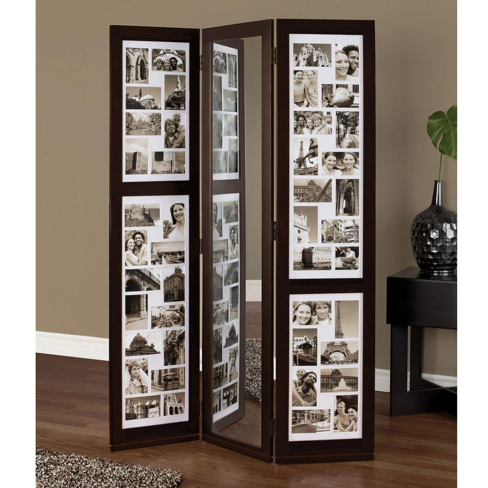 Preston 5.4 ft. Espresso (Brown) 3-Panel Room Divider