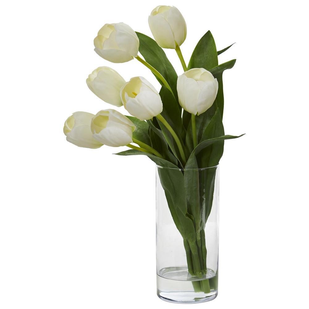 Indoor Tulip Artificial Arrangement in Cylinder Vase