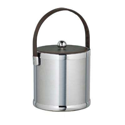 Americano 3 Qt. Brushed Chrome Ice Bucket with Brown Leatherette Lid and Handle