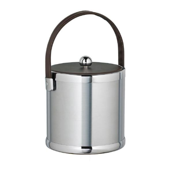 Kraftware Americano 3 Qt. Brushed Chrome Ice Bucket with Brown Leatherette