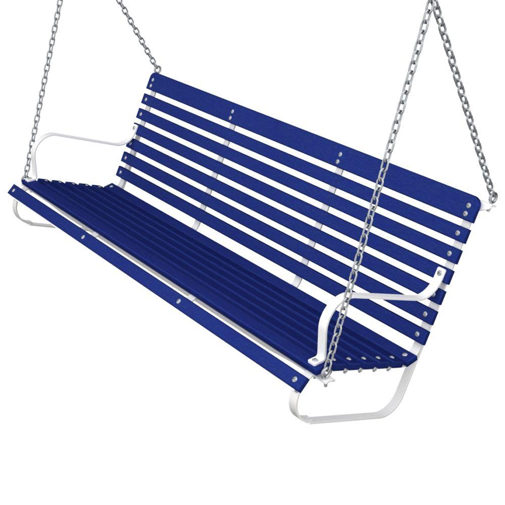 Ivy Terrace 60 in. White and Pacific Blue Patio Swing-DISCONTINUED