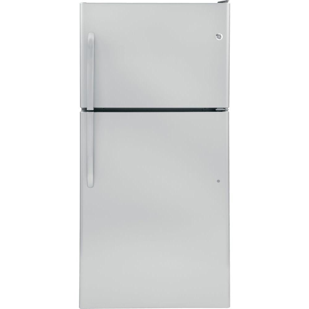 GE 30 in. W 20 cu. ft. Top Freezer Refrigerator in Stainless Steel