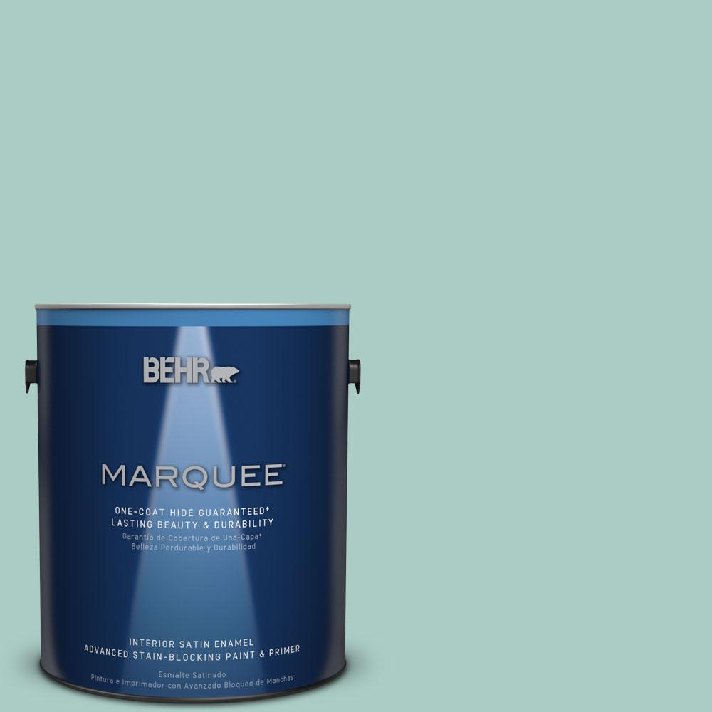 1 gal. #M440-3 Baby Aqua One-Coat Hide Satin Enamel Interior Paint
