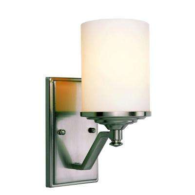 Cabernet Collection 1-Light Brushed Nickel Sconce with White Frosted Shade