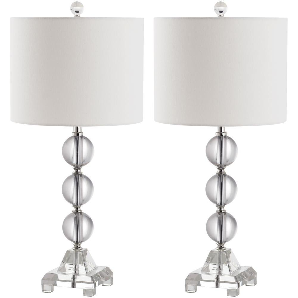 Clear crystal table lamp set of 2