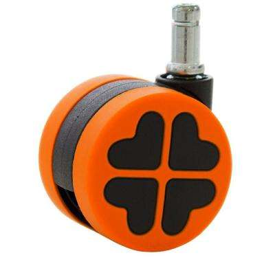 2-3/8 in. Rubber PU Office Chair Casters Safe for Hardwood Floors Black and Orange (5-Pack)
