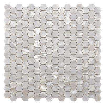 Hexagon White 11.8 in. x 11.8 in. Water Cube Textured Natural Mother of Peal Seashell Mosaic Tile (9.4 sq. ft./Case)