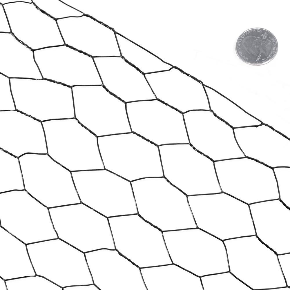 Fencer Wire 6 ft. x 150 ft. 20-Gauge Black PVC Coated Poultry Netting with 1 in. Mesh