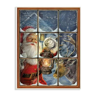 Stupell Industries 12 5 In X 18 5 In Holiday Santa Claus In The Windowpane With Lantern Painting By Artist A V Art Wood Wall Art Hwp 233 Wd 13x19 The Home Depot