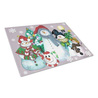 Snowman Collection for the Holidays Tempered Glass Large Cutting Board